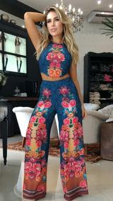 Calça Pantalona Flare E Cropped Estampado Perfect Way Tam P