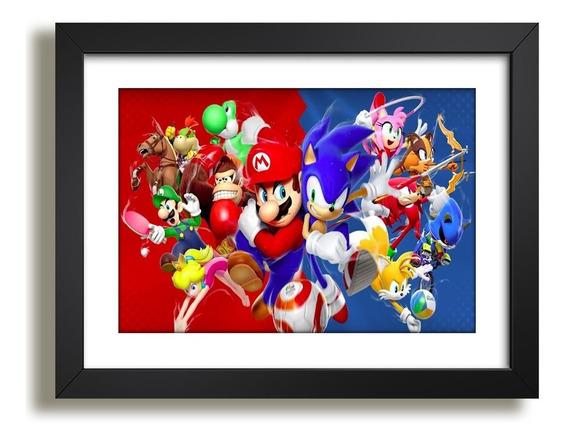 Quadro Sonic Super Mario Game Serie Tv Decorativo Sala Jo Kp