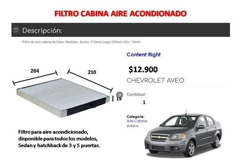 Filtro Aire Acondicionado Chevrolet Aveo