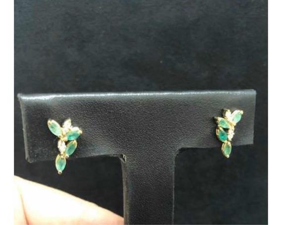Brinco Ouro 18k Ear Cuff Diamantes E Esmeraldas