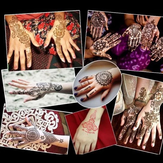 1 Par Menina M?os Pintura Tatuagem Estncil Flor Rosa Rendas