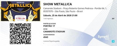 Ingressos Para Show Do Metallica Em Sp Dia 25/04  Camarote