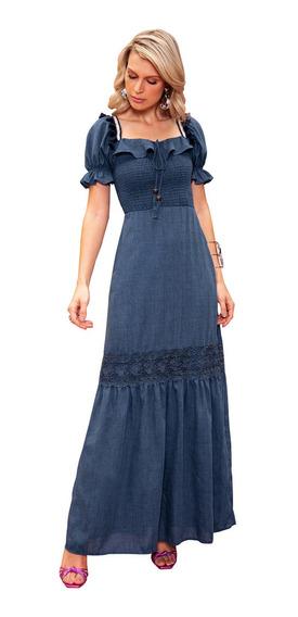 Vestido Jeans Longo Festa Fascinius Guipir Feminino Moda