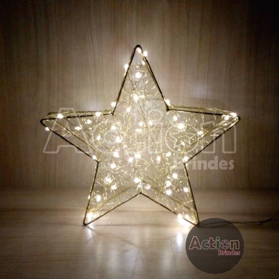 Estrela De Led Dourada Decoração