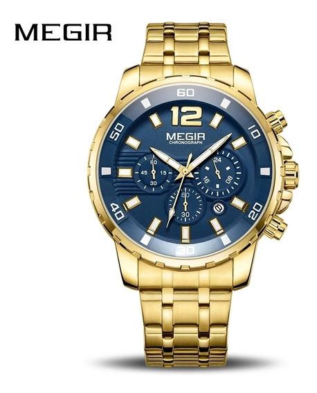 Relógio Masculino Dourado Em Aço Inoxidável Megir