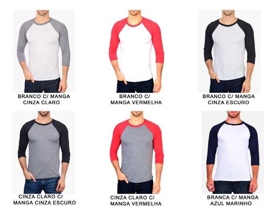 Kit 5 Camiseta Raglan 3/4 100% Algodão