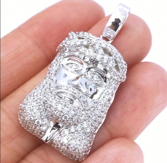 Cadena Dije Rostro De Cristo Diamante Cultivado Oro 14k/925