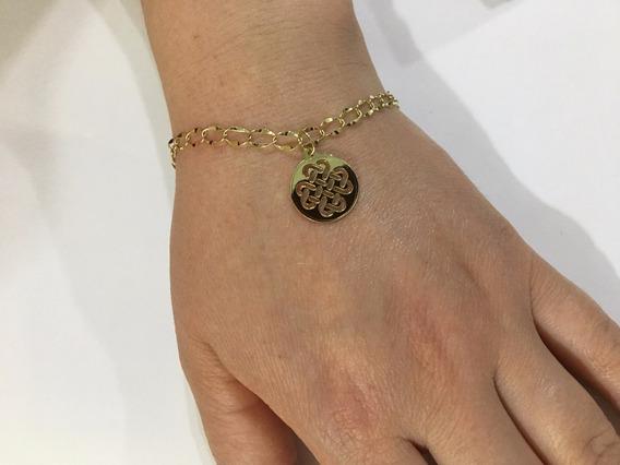 Pulseira Bracelete Feminino Ouro 18k 750 Com Pingente