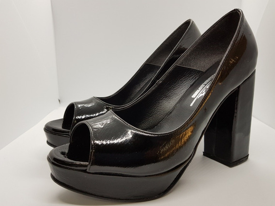 Sandalia Zapato Mujer Taco Alto Charol Negro Perugia