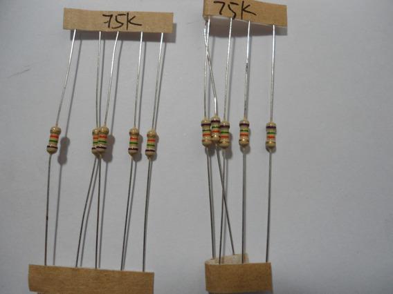 Resistor 75k X 1/4w - 5% Tol- Embalagem Com 5 Unidades