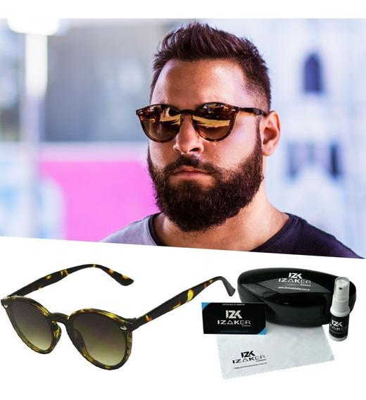 Oculos De Sol Retro Marrom Masculino Redondo Leve Proteção