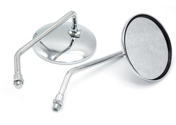 Espelho Retrovisor Moto Custom Aço Cromado Lente Plana