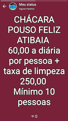 Chácara Pouso Feliz Atibaia. Mínimo 10 Pessoas
