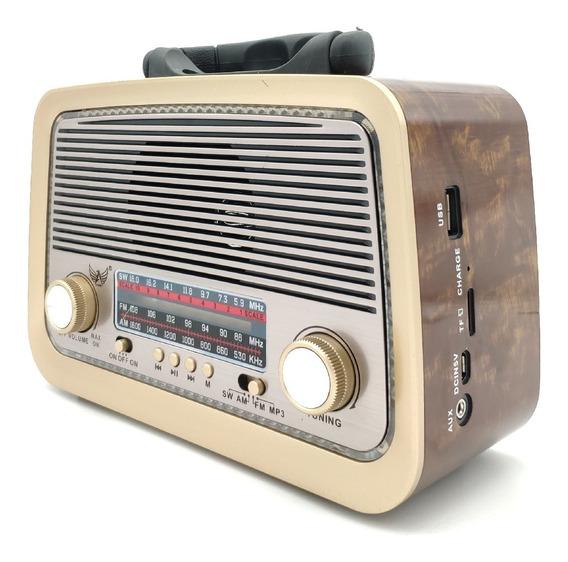 Rádio Retro Vintage Am Fm Sw Usb Recarregavel Aux Sd Pilhas