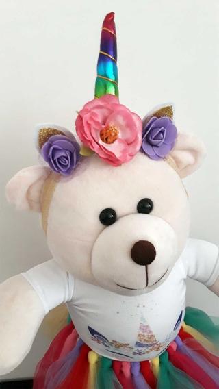 Ursa De Pelúcia Ursinha Unicórnio 45cm Crie Sua Super Amiga