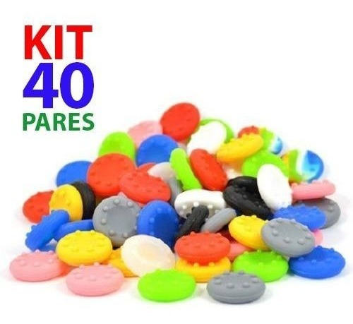 Kit 40 Pares Grip Silicone Boraccha Capa Analógico Xbox Ps4