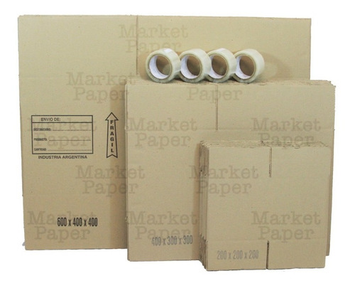 Kit Mudanza 30 Cajas Varias + 4 Cintas Embalar Mudanza Cuota
