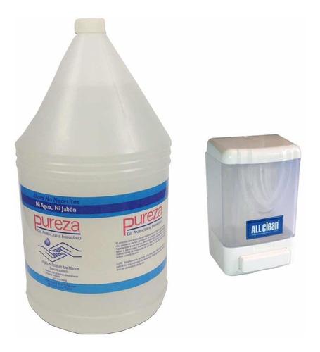 Combo Gel Antibacterial Pureza Galon + Dispensador De 1 Lt