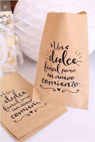 Imagen 1 de 1 de 25 Bolsas Papel Kraft Diseños Recuerdo Boda Mesa Dulces