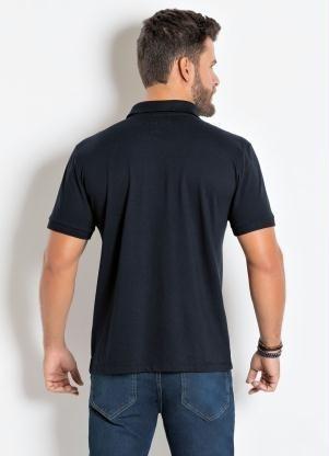 Camisa Polo Actual Preta Básica Em Piquet