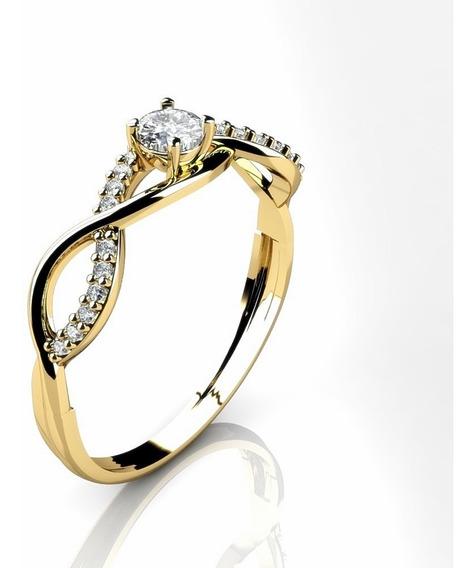 Anel Solitário Cravejado Ouro18k R093