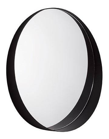 Espelho Decorativo Preto Metal Redondo 58cm In10509