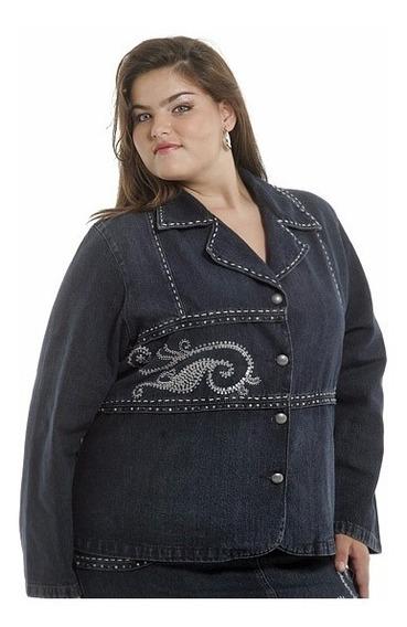 Casaco Jeans Plus Size Bordada Feminina Promoção 2316.