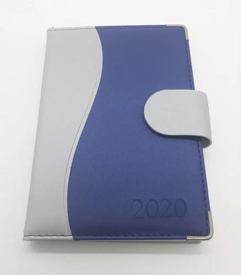 Agenda 2020 Diária Luxo Costurada Porta Caneta Azul Aço