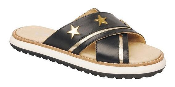 Sandalia De Cuero Baja Tiras Cruzadas Tachas Estrella Aer218