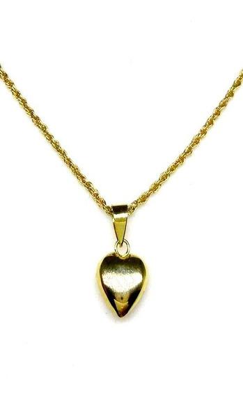 Colar Ouro 18k Maciço Jóia Pingente De Coração Lindo