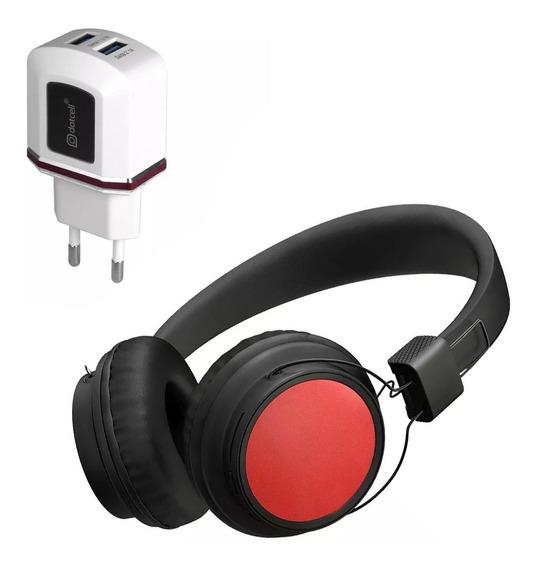 Kit Fone Bluetooth Cabo E Carregador 2 Usbs Turbo Vermelho