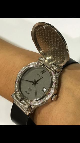 Relógio Hublot Feminino Ouro Branco 18k Revestio E Diamantes