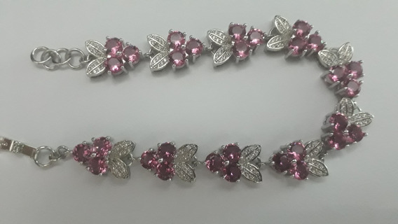 Pulseira Prata Esterlina Pedras Natural Cz Turmalina Rosa