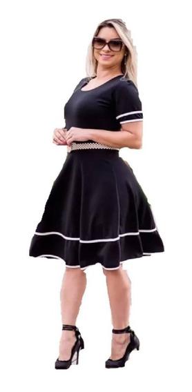 Vestido Evangélico Social Rodado Godê Midi Roupas Femininas