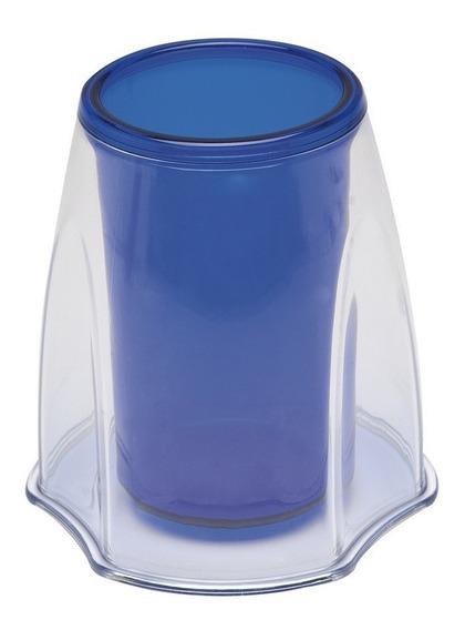 Porta Canetas Organizador Duocollor Azul