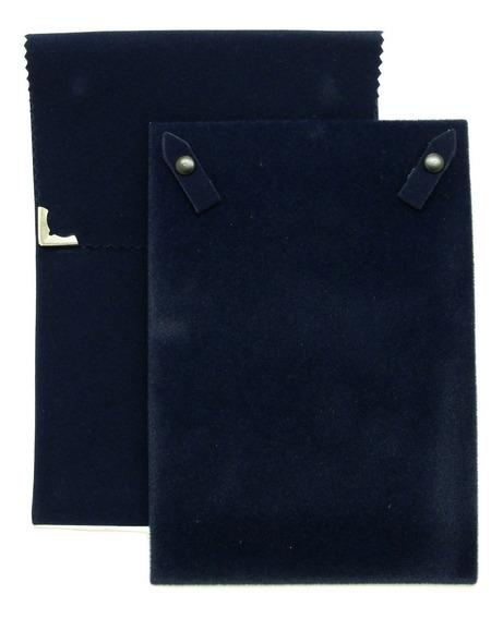 Envelope Veludo Grande Para Colar Azul