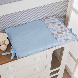 Trocador De Cômoda Bebê Menino Nuvem Azul Bebê