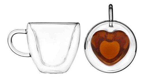 Jogo 2 Xícaras Parede Dupla Coração Vidro 230ml Café Chá