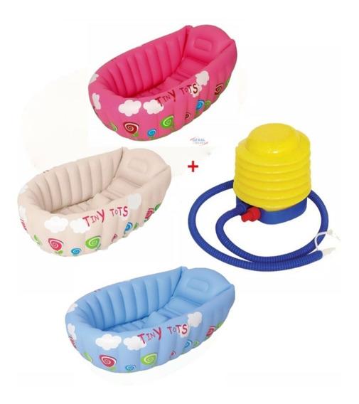 Banheira Inflável Para Bebê Com Indicador + Inflador ( Kit )