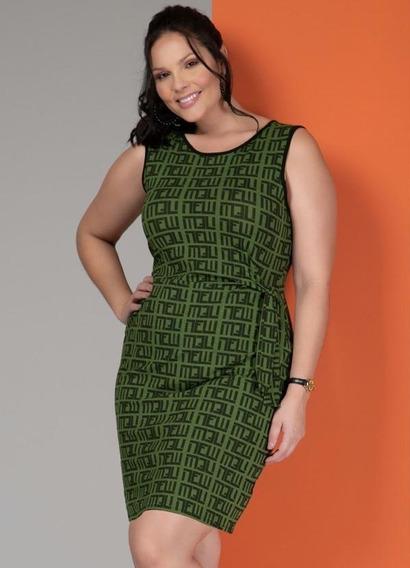 Vestido Geométrico Verde Com Amarração Plus Size