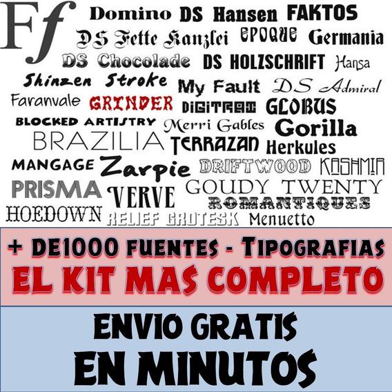 Kit +1000 Fuentes - Tipografías +1k El Mas Completo