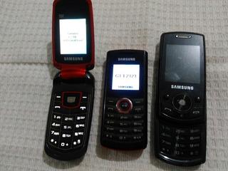 Lote Com 3 Celulares Samsung Diversos- J700 E2121 E2210 Leia
