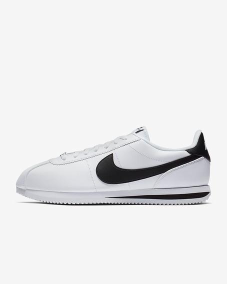 Tenis Nike Cortez Basic Blanco/negro Hombre Piel