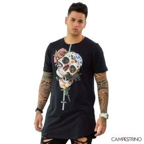 Camisa Long Line Skull Flower/ Tam. G / Cor Preta