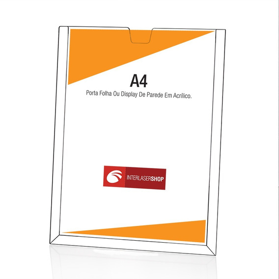 Display Acrilico Parede Porta Folha A4 + Fita Adesiva 20 Pcs