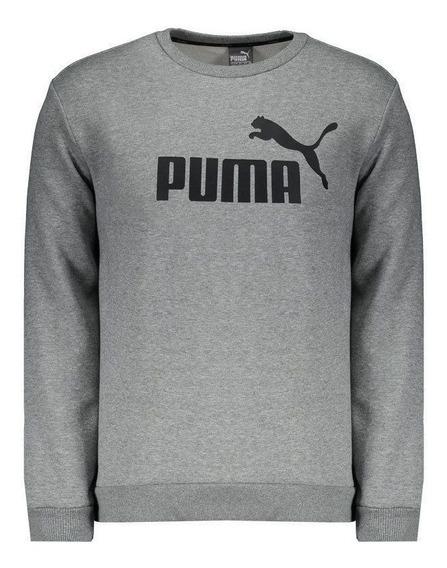 Moletom Puma Essentials Crew Logo Cinza