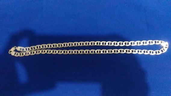 Corrente Prata 925, Elos Piastrine, 65 Cm, 8 Mm, Imperdível
