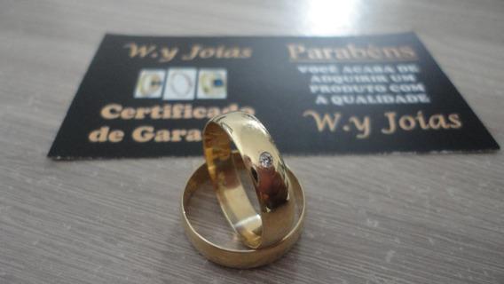 Aliança De Ouro 5mm Com Pedra De Brilhantes