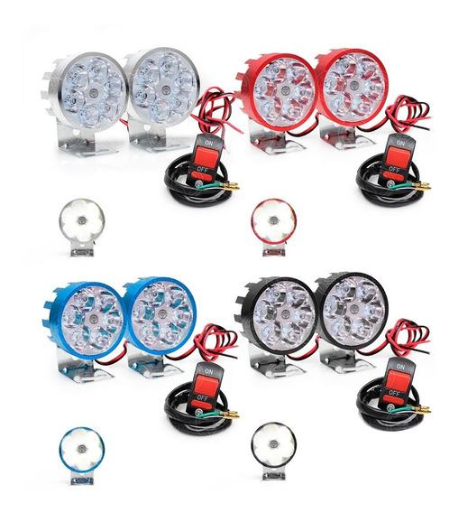 Par Faros 6 Led Redondo Aluminio Auxiliar Moto + Switch