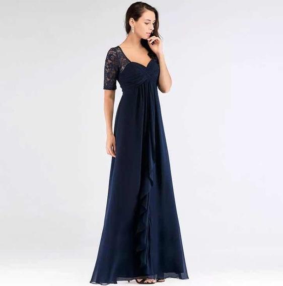 Vestido Largo Azul Gasa Y Encaje Divino Importado